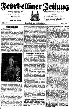 Fehrbelliner Zeitung vom 20.04.1935