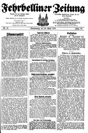 Fehrbelliner Zeitung vom 24.04.1935