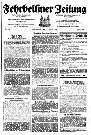 Fehrbelliner Zeitung vom 27.04.1935