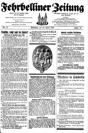 Fehrbelliner Zeitung vom 30.04.1935