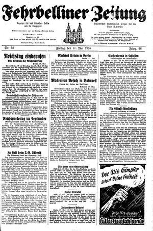 Fehrbelliner Zeitung vom 17.05.1935