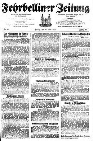 Fehrbelliner Zeitung vom 31.05.1935