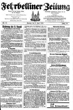 Fehrbelliner Zeitung vom 03.06.1935