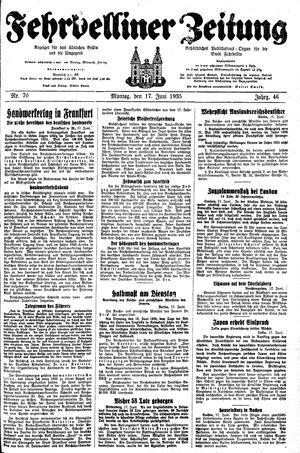 Fehrbelliner Zeitung vom 17.06.1935