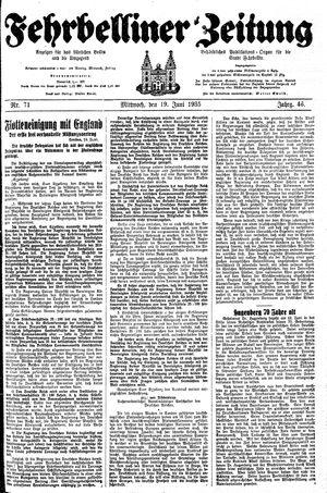 Fehrbelliner Zeitung vom 19.06.1935