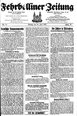 Fehrbelliner Zeitung vom 24.06.1935