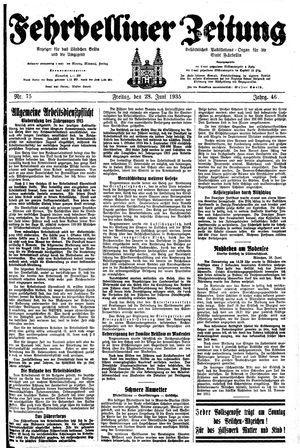 Fehrbelliner Zeitung vom 28.06.1935