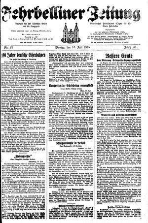 Fehrbelliner Zeitung vom 15.07.1935