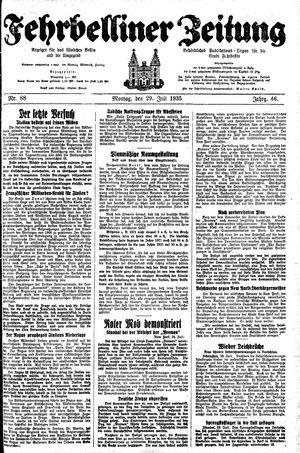 Fehrbelliner Zeitung vom 29.07.1935