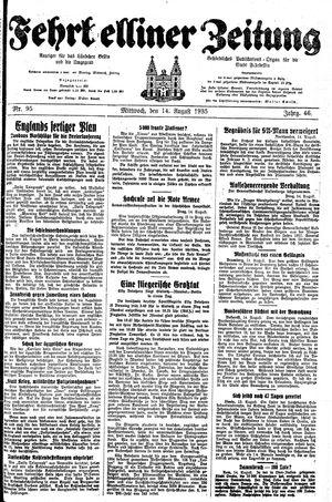 Fehrbelliner Zeitung vom 14.08.1935