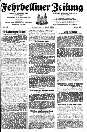 Fehrbelliner Zeitung vom 19.08.1935