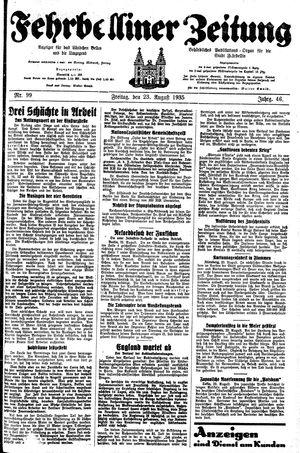 Fehrbelliner Zeitung vom 23.08.1935