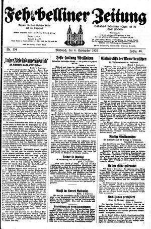 Fehrbelliner Zeitung vom 04.09.1935