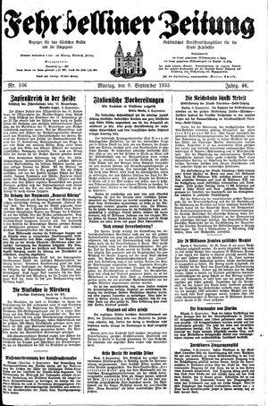 Fehrbelliner Zeitung vom 09.09.1935