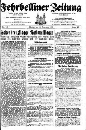 Fehrbelliner Zeitung vom 16.09.1935