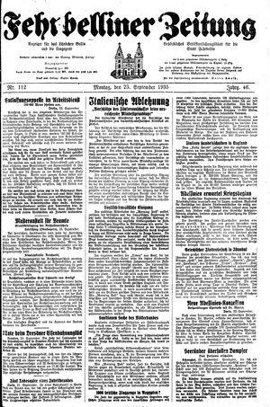 Fehrbelliner Zeitung vom 23.09.1935