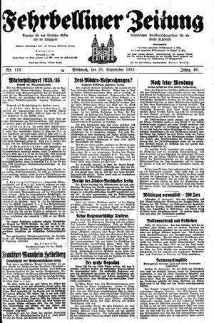 Fehrbelliner Zeitung vom 25.09.1935