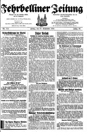 Fehrbelliner Zeitung vom 27.09.1935