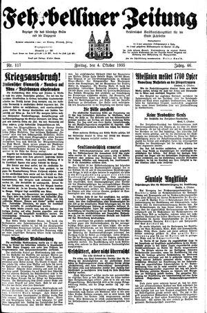 Fehrbelliner Zeitung vom 04.10.1935