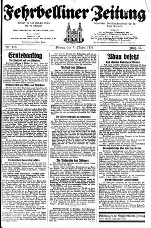 Fehrbelliner Zeitung vom 07.10.1935