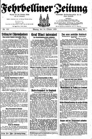 Fehrbelliner Zeitung vom 14.10.1935
