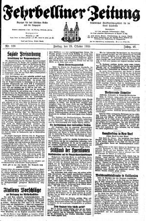 Fehrbelliner Zeitung vom 25.10.1935