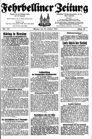 Fehrbelliner Zeitung vom 28.10.1935