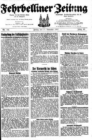 Fehrbelliner Zeitung vom 15.11.1935