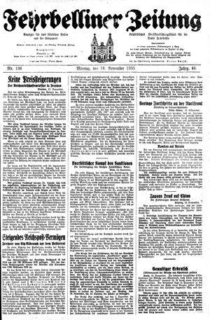 Fehrbelliner Zeitung vom 18.11.1935