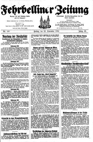Fehrbelliner Zeitung vom 22.11.1935