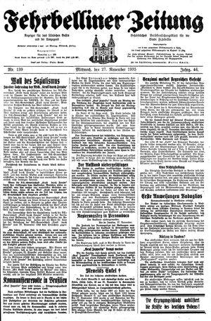 Fehrbelliner Zeitung vom 27.11.1935
