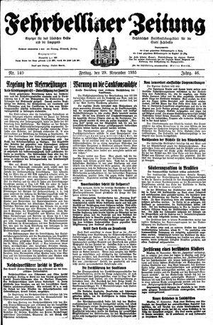 Fehrbelliner Zeitung vom 29.11.1935