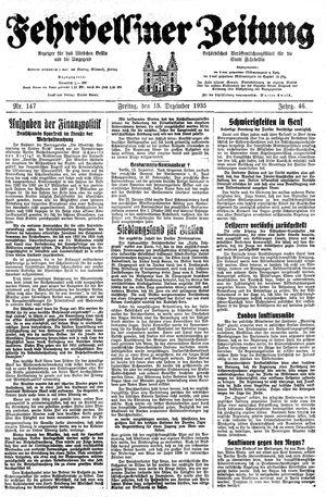 Fehrbelliner Zeitung vom 13.12.1935