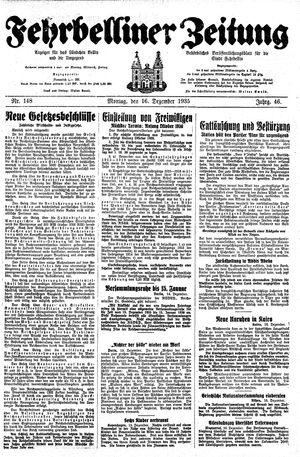 Fehrbelliner Zeitung vom 16.12.1935