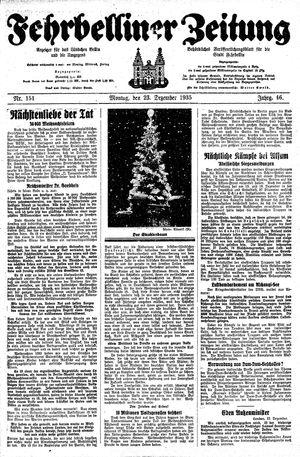 Fehrbelliner Zeitung vom 23.12.1935