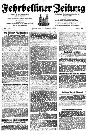 Fehrbelliner Zeitung vom 27.12.1935