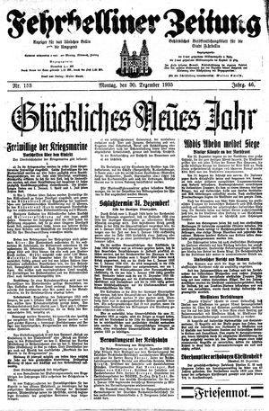 Fehrbelliner Zeitung vom 30.12.1935