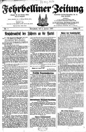 Fehrbelliner Zeitung vom 02.01.1937