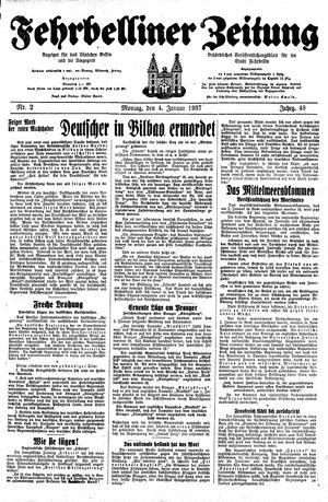 Fehrbelliner Zeitung vom 04.01.1937