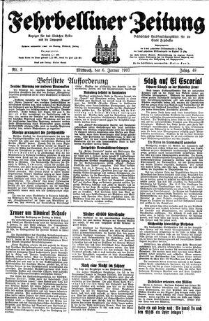 Fehrbelliner Zeitung vom 06.01.1937