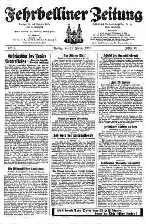 Fehrbelliner Zeitung vom 11.01.1937