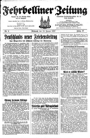 Fehrbelliner Zeitung vom 13.01.1937