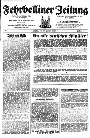 Fehrbelliner Zeitung on Jan 15, 1937