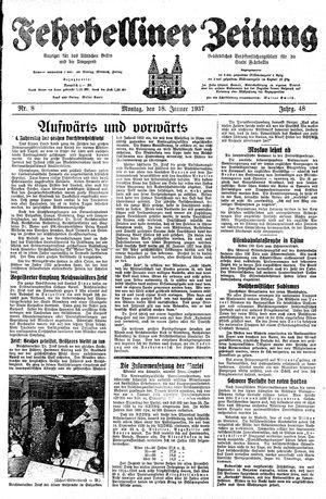 Fehrbelliner Zeitung vom 18.01.1937
