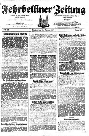 Fehrbelliner Zeitung vom 25.01.1937