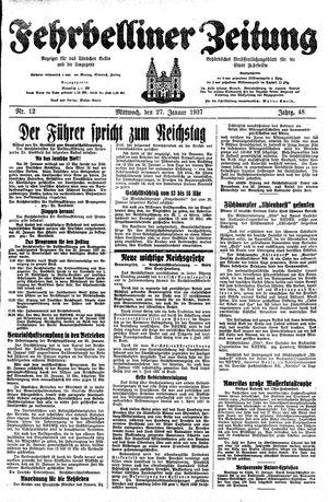 Fehrbelliner Zeitung vom 27.01.1937