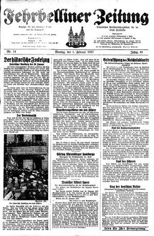 Fehrbelliner Zeitung vom 01.02.1937