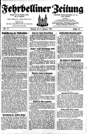 Fehrbelliner Zeitung vom 08.02.1937