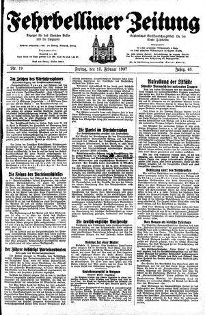 Fehrbelliner Zeitung vom 12.02.1937