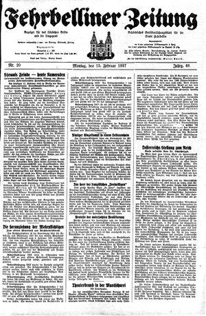 Fehrbelliner Zeitung vom 15.02.1937